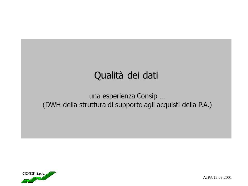 Qualità dei dati una esperienza Consip … (DWH della struttura di supporto agli acquisti della P.A.) CONSIP S.p.A. AIPA 12.03.2001
