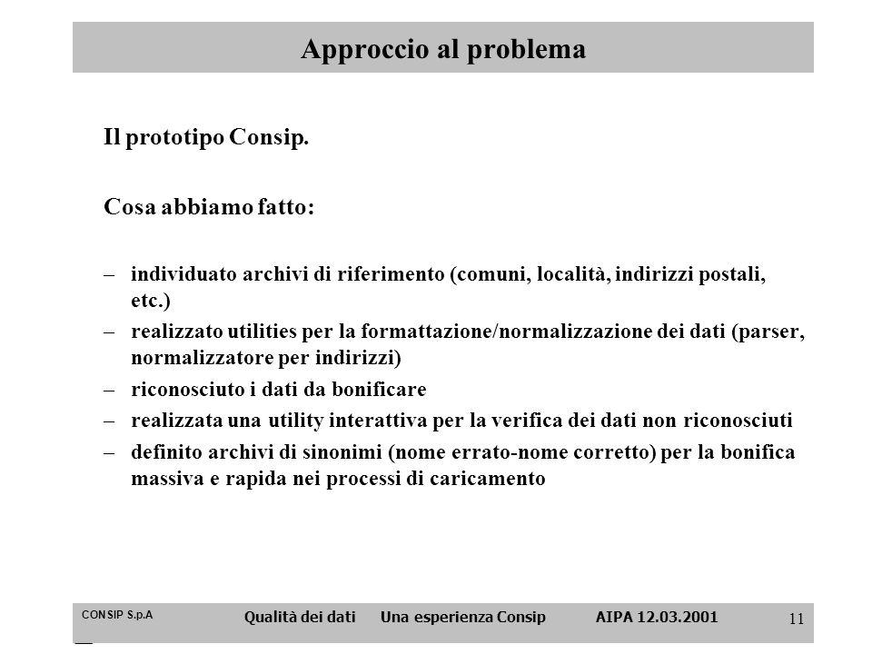 CONSIP S.p.A Qualità dei dati Una esperienza Consip AIPA 12.03.2001 11 Approccio al problema Il prototipo Consip. Cosa abbiamo fatto: –individuato arc