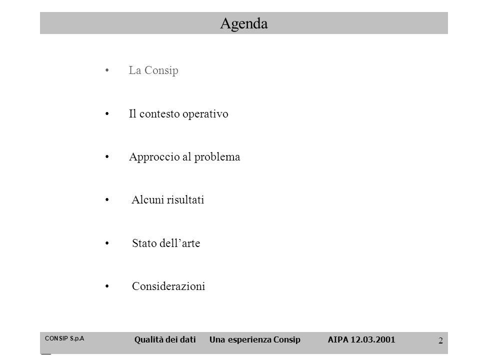 CONSIP S.p.A Qualità dei dati Una esperienza Consip AIPA 12.03.2001 2 Agenda La Consip Il contesto operativo Approccio al problema Alcuni risultati St