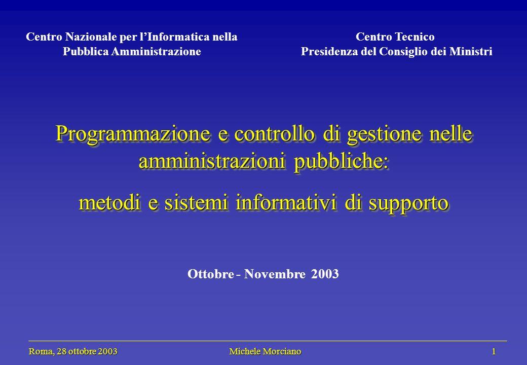 Roma, 28 ottobre 2003 Michele Morciano 1 Roma, 28 ottobre 2003 Michele Morciano 1 Programmazione e controllo di gestione nelle amministrazioni pubblic
