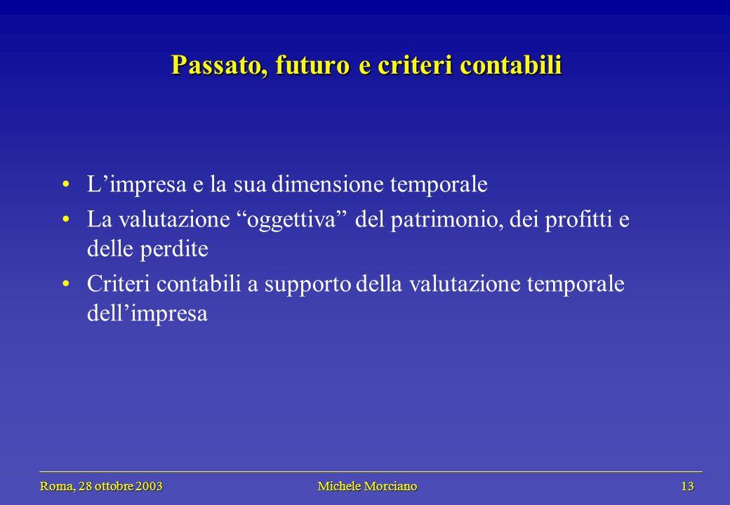 Roma, 28 ottobre 2003 Michele Morciano 13 Roma, 28 ottobre 2003 Michele Morciano 13 Passato, futuro e criteri contabili Limpresa e la sua dimensione t