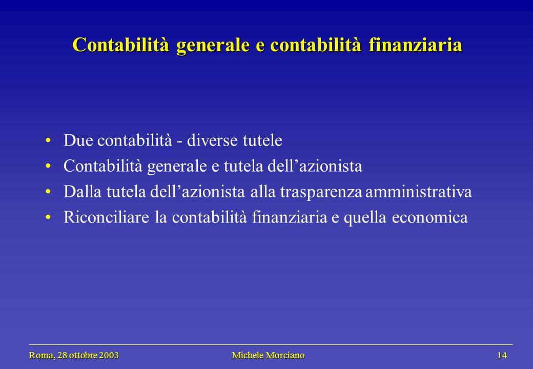 Roma, 28 ottobre 2003 Michele Morciano 14 Roma, 28 ottobre 2003 Michele Morciano 14 Contabilità generale e contabilità finanziaria Due contabilità - d