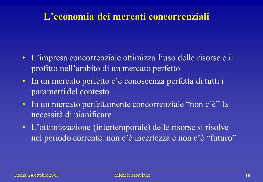 Roma, 28 ottobre 2003 Michele Morciano 18 Roma, 28 ottobre 2003 Michele Morciano 18 Leconomia dei mercati concorrenziali Limpresa concorrenziale ottim