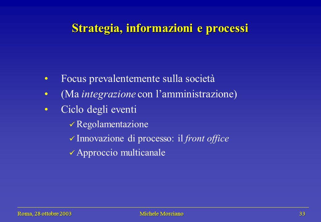 Roma, 28 ottobre 2003 Michele Morciano 33 Roma, 28 ottobre 2003 Michele Morciano 33 Strategia, informazioni e processi Focus prevalentemente sulla soc