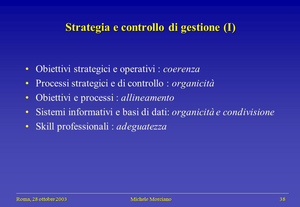 Roma, 28 ottobre 2003 Michele Morciano 38 Roma, 28 ottobre 2003 Michele Morciano 38 Strategia e controllo di gestione (I) Obiettivi strategici e opera