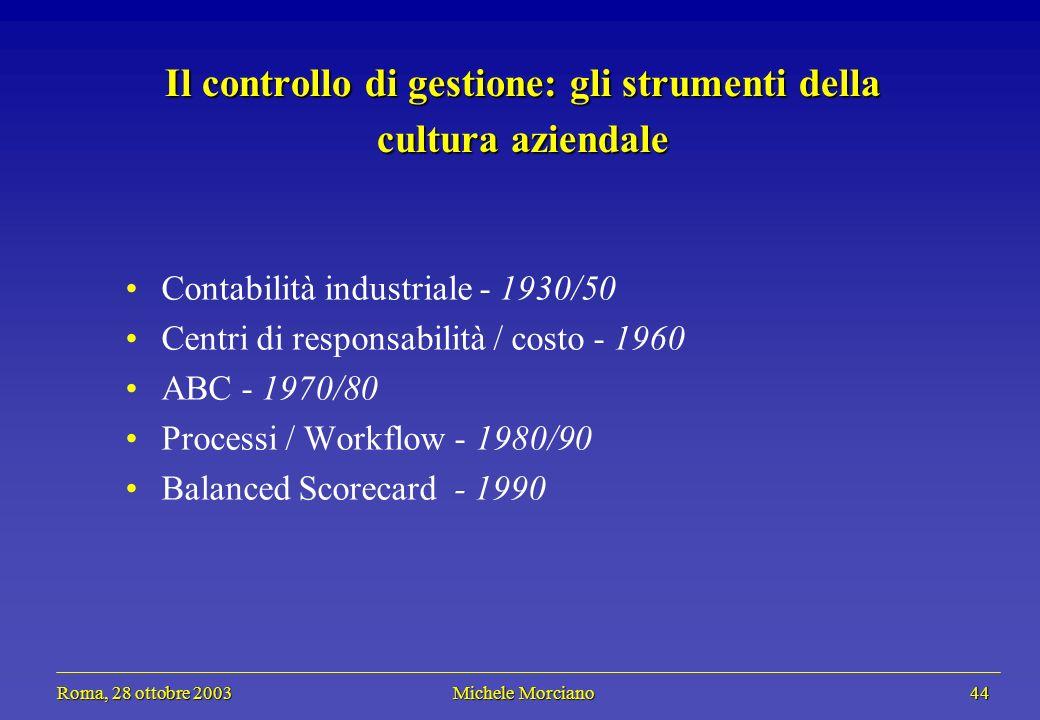 Roma, 28 ottobre 2003 Michele Morciano 44 Roma, 28 ottobre 2003 Michele Morciano 44 Il controllo di gestione: gli strumenti della cultura aziendale Co
