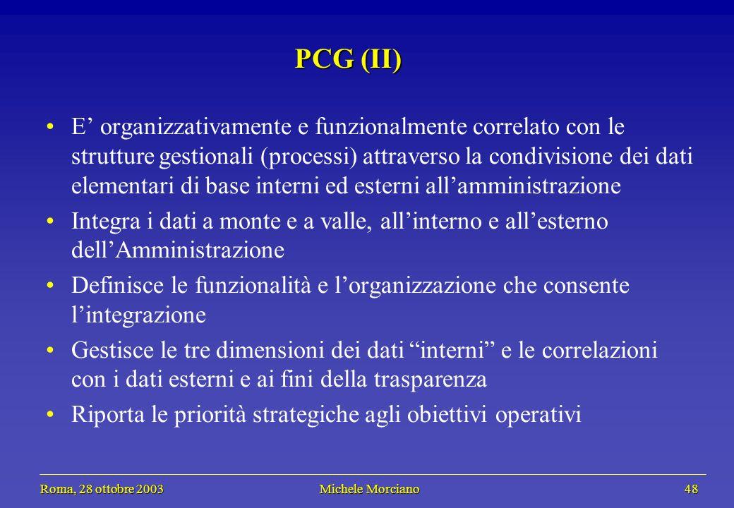 Roma, 28 ottobre 2003 Michele Morciano 48 Roma, 28 ottobre 2003 Michele Morciano 48 PCG (II) E organizzativamente e funzionalmente correlato con le st