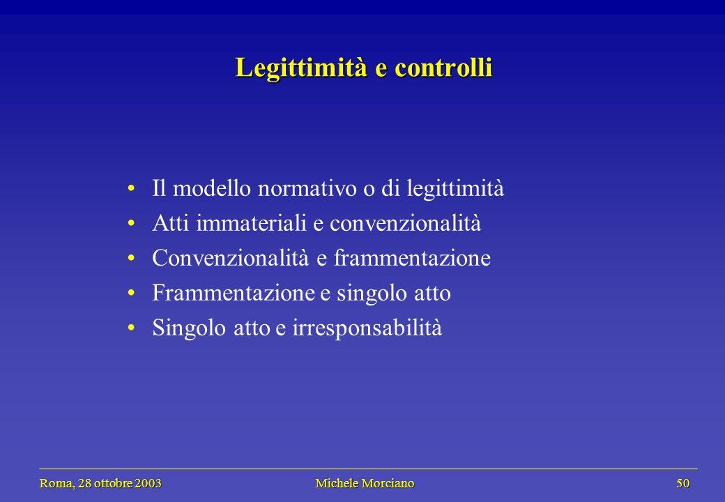 Roma, 28 ottobre 2003 Michele Morciano 50 Roma, 28 ottobre 2003 Michele Morciano 50 Legittimità e controlli Il modello normativo o di legittimità Atti