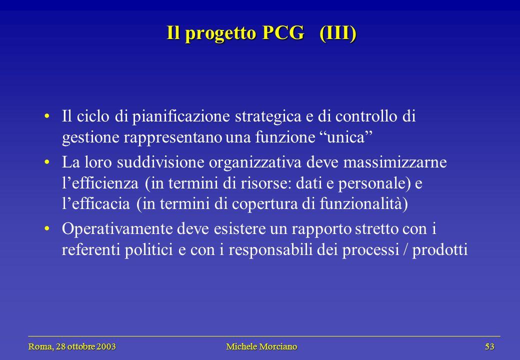 Roma, 28 ottobre 2003 Michele Morciano 53 Roma, 28 ottobre 2003 Michele Morciano 53 Il progetto PCG (III) Il ciclo di pianificazione strategica e di c