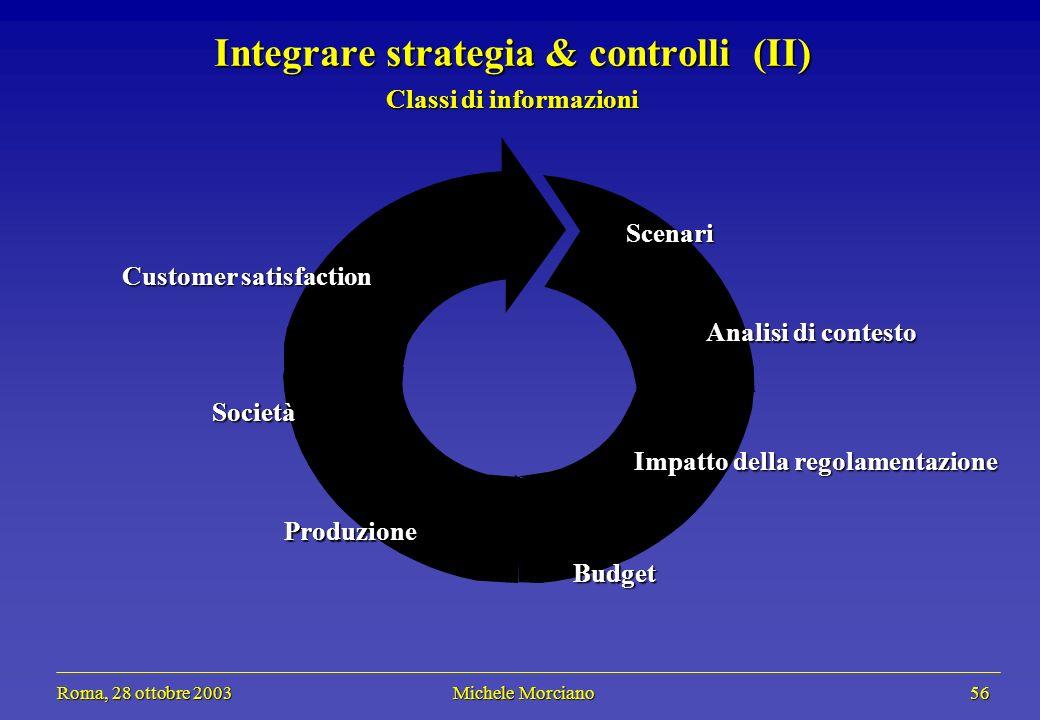 Roma, 28 ottobre 2003 Michele Morciano 56 Roma, 28 ottobre 2003 Michele Morciano 56 Integrare strategia & controlli (II) Classi di informazioni Scenar