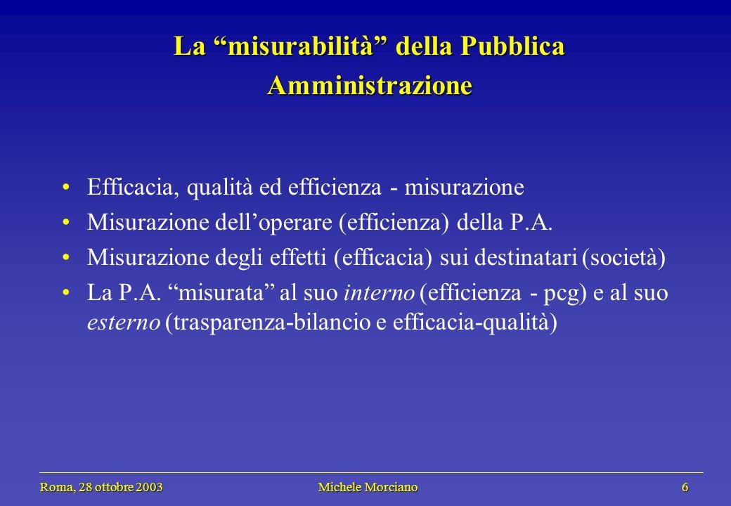 Roma, 28 ottobre 2003 Michele Morciano 6 Roma, 28 ottobre 2003 Michele Morciano 6 La misurabilità della Pubblica Amministrazione Efficacia, qualità ed