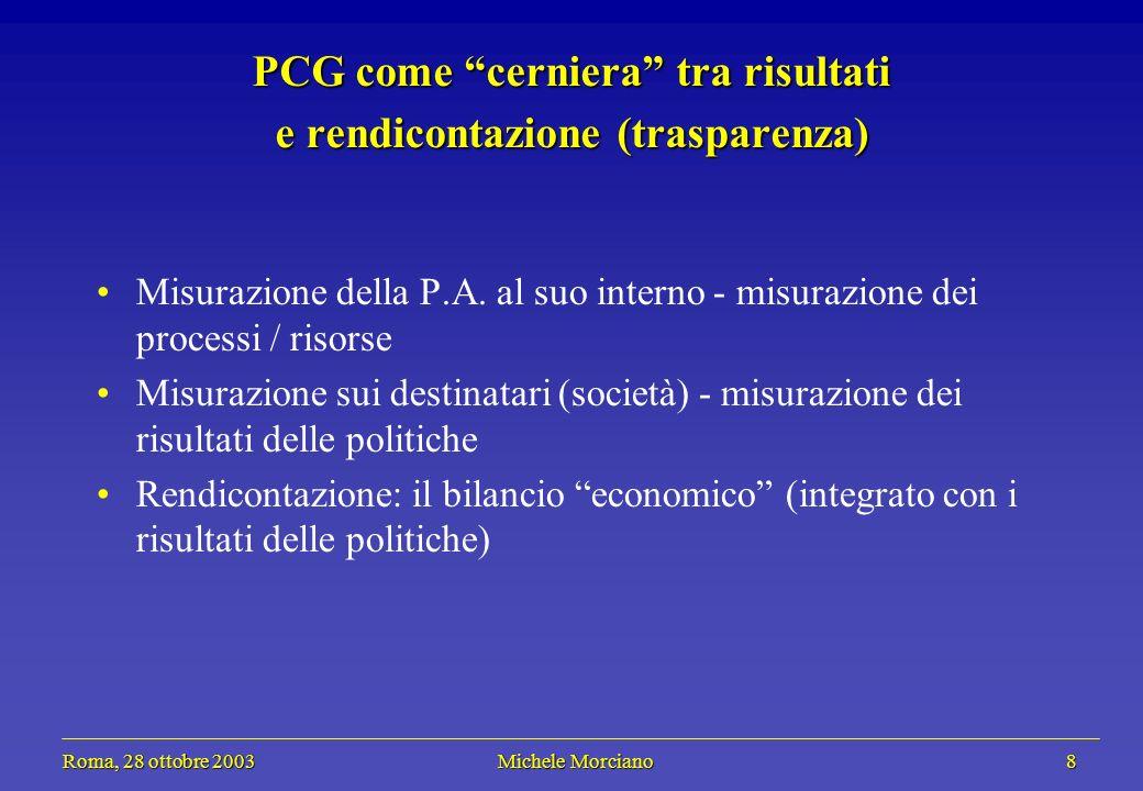 Roma, 28 ottobre 2003 Michele Morciano 8 Roma, 28 ottobre 2003 Michele Morciano 8 PCG come cerniera tra risultati e rendicontazione (trasparenza) Misu