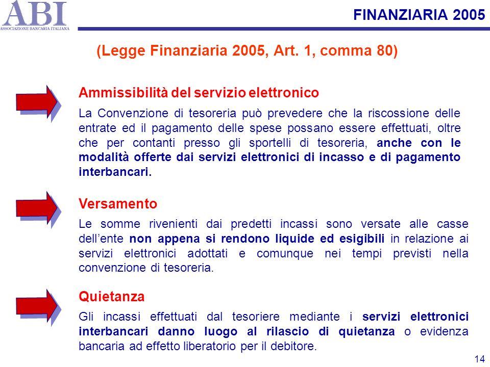 14 Ammissibilità del servizio elettronico La Convenzione di tesoreria può prevedere che la riscossione delle entrate ed il pagamento delle spese possa
