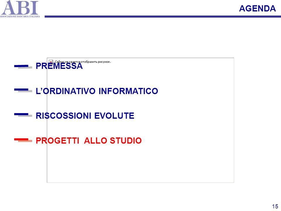 15 PREMESSA LORDINATIVO INFORMATICO PROGETTI ALLO STUDIO RISCOSSIONI EVOLUTE AGENDA