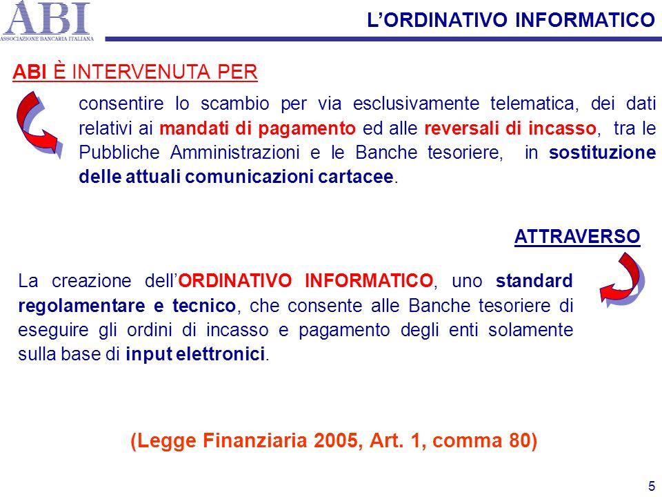 5 La creazione dellORDINATIVO INFORMATICO, uno standard regolamentare e tecnico, che consente alle Banche tesoriere di eseguire gli ordini di incasso