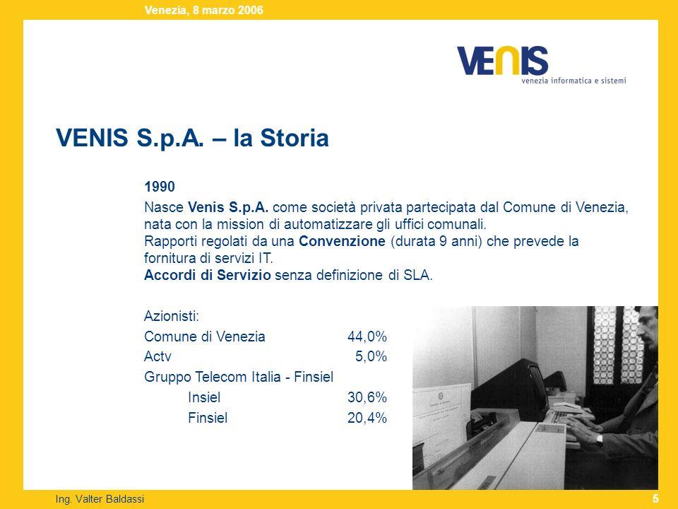 VENIS S.p.A. – la Storia Ing. Valter Baldassi Venezia, 8 marzo 2006 5 1990 Nasce Venis S.p.A. come società privata partecipata dal Comune di Venezia,