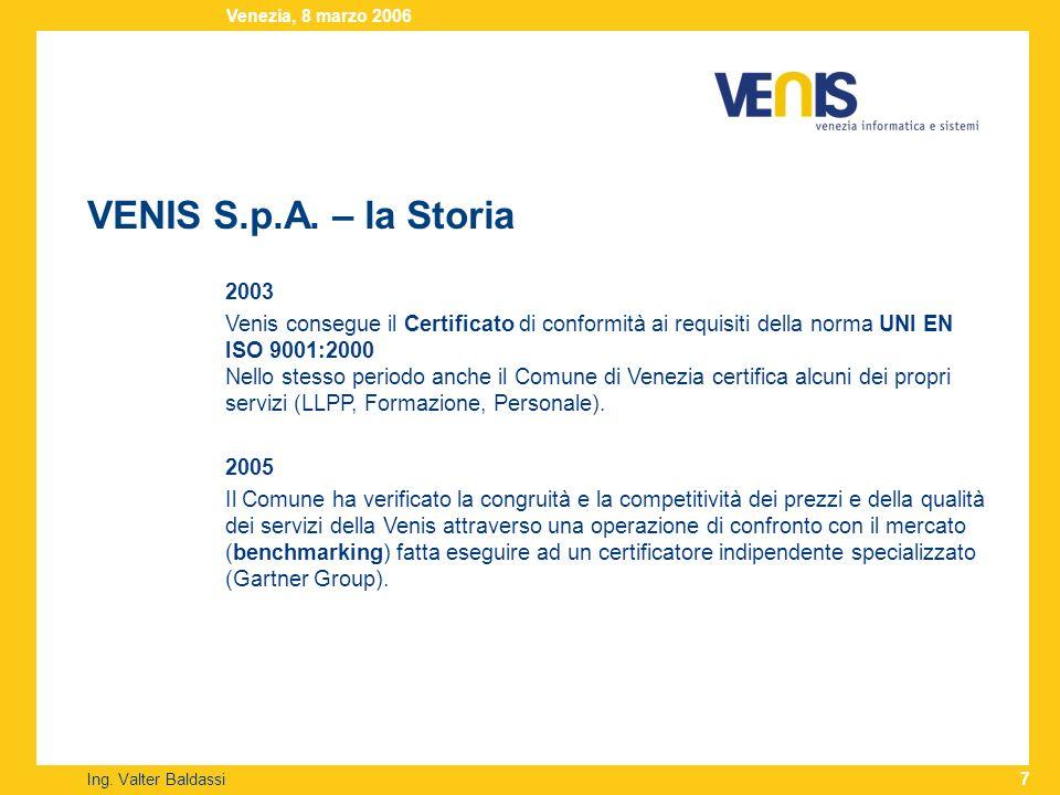 VENIS S.p.A. – la Storia Ing. Valter Baldassi Venezia, 8 marzo 2006 7 2003 Venis consegue il Certificato di conformità ai requisiti della norma UNI EN