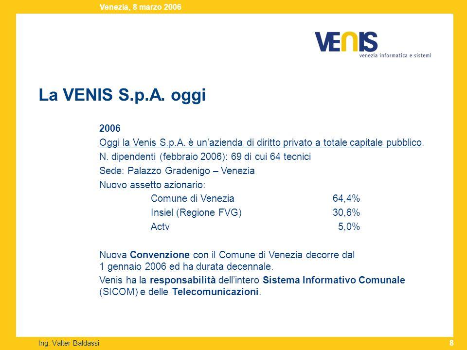 La VENIS S.p.A. oggi Ing. Valter Baldassi Venezia, 8 marzo 2006 8 2006 Oggi la Venis S.p.A. è unazienda di diritto privato a totale capitale pubblico.