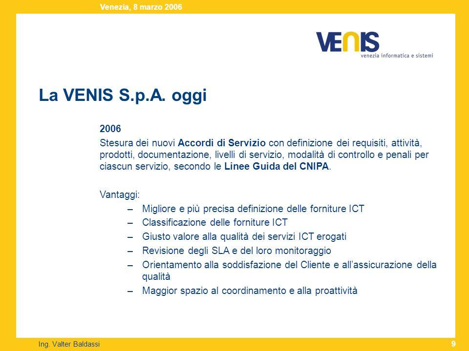 La VENIS S.p.A. oggi Ing. Valter Baldassi Venezia, 8 marzo 2006 9 2006 Stesura dei nuovi Accordi di Servizio con definizione dei requisiti, attività,