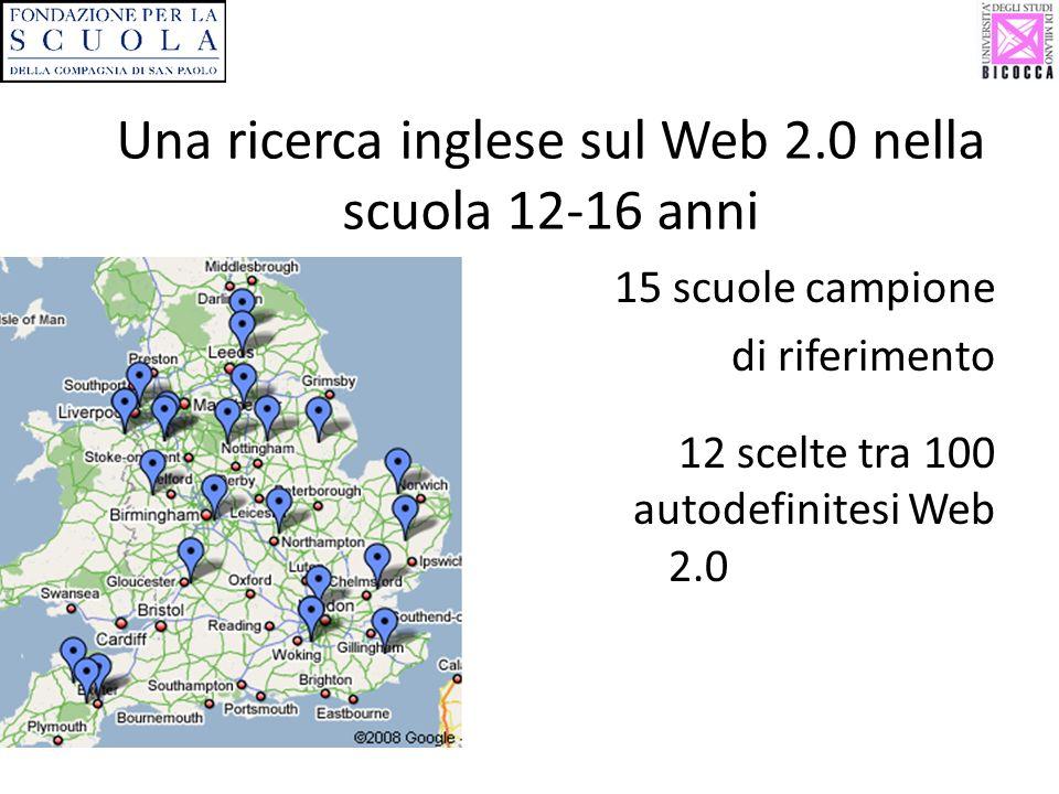 Una ricerca inglese sul Web 2.0 nella scuola 12-16 anni 15 scuole campione di riferimento 12 scelte tra 100 autodefinitesi Web 2.0 2.0
