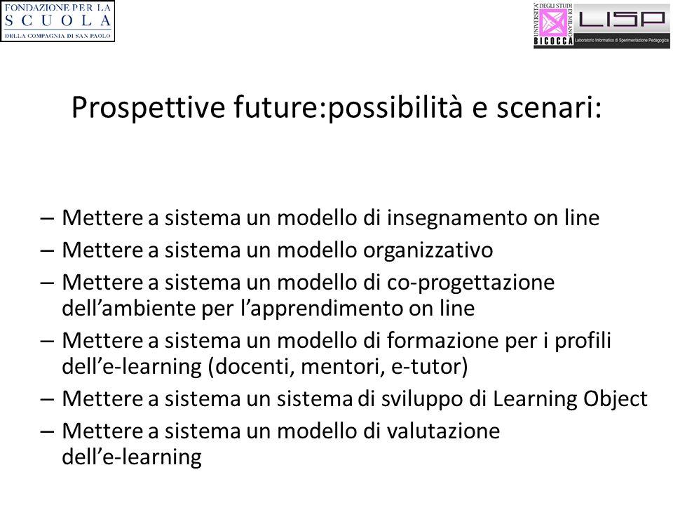 Prospettive future:possibilità e scenari: – Mettere a sistema un modello di insegnamento on line – Mettere a sistema un modello organizzativo – Metter