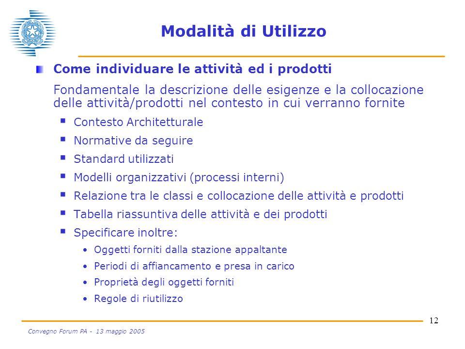 12 Convegno Forum PA - 13 maggio 2005 Modalità di Utilizzo Come individuare le attività ed i prodotti Fondamentale la descrizione delle esigenze e la