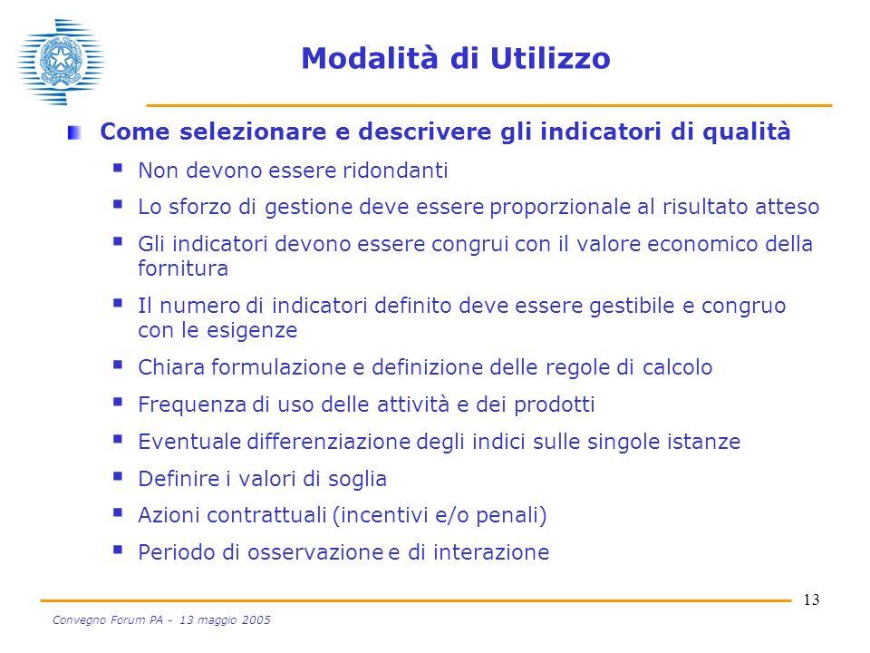 13 Convegno Forum PA - 13 maggio 2005 Modalità di Utilizzo Come selezionare e descrivere gli indicatori di qualità Non devono essere ridondanti Lo sfo