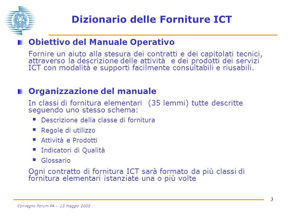 3 Convegno Forum PA - 13 maggio 2005 Dizionario delle Forniture ICT Obiettivo del Manuale Operativo Fornire un aiuto alla stesura dei contratti e dei