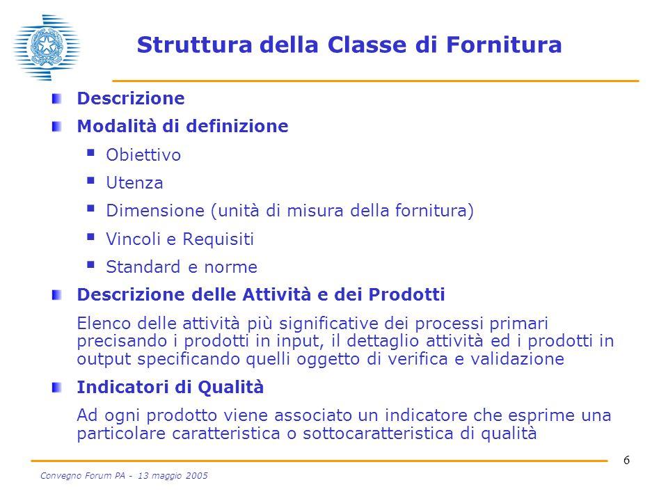 6 Convegno Forum PA - 13 maggio 2005 Struttura della Classe di Fornitura Descrizione Modalità di definizione Obiettivo Utenza Dimensione (unità di mis