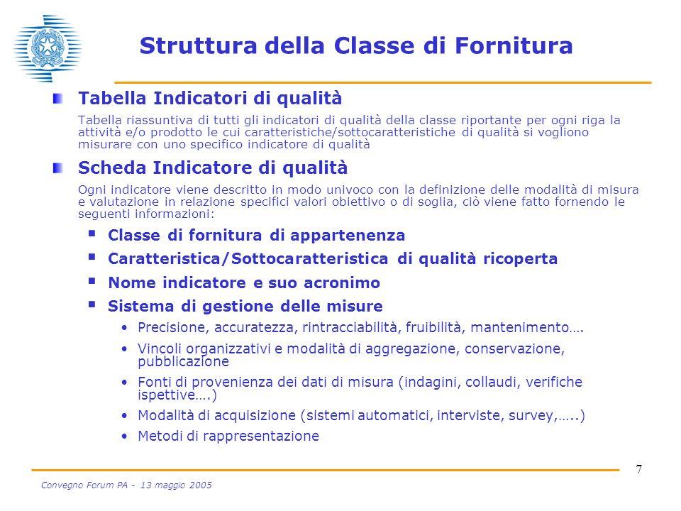7 Convegno Forum PA - 13 maggio 2005 Struttura della Classe di Fornitura Tabella Indicatori di qualità Tabella riassuntiva di tutti gli indicatori di
