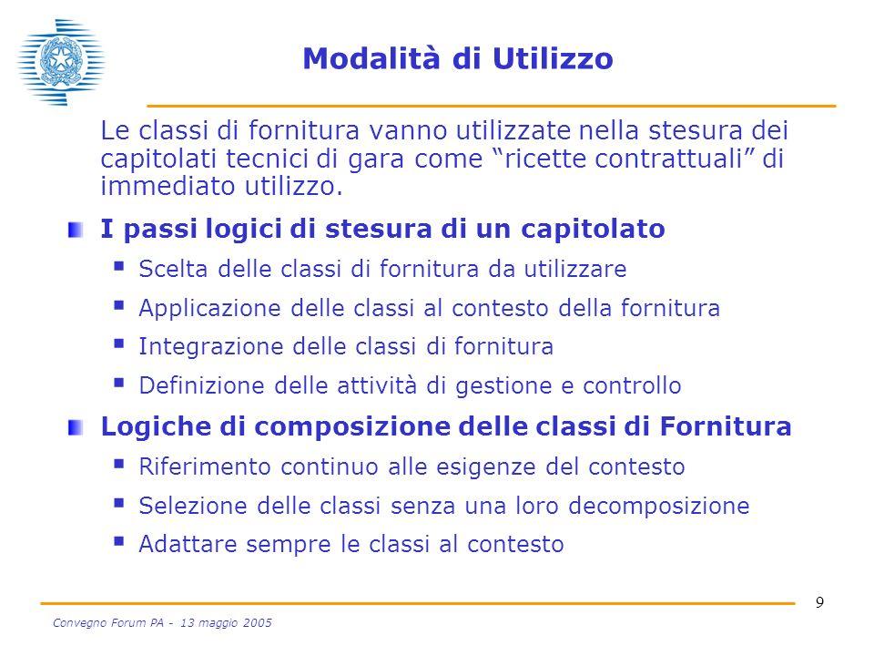 9 Convegno Forum PA - 13 maggio 2005 Modalità di Utilizzo Le classi di fornitura vanno utilizzate nella stesura dei capitolati tecnici di gara come ricette contrattuali di immediato utilizzo.