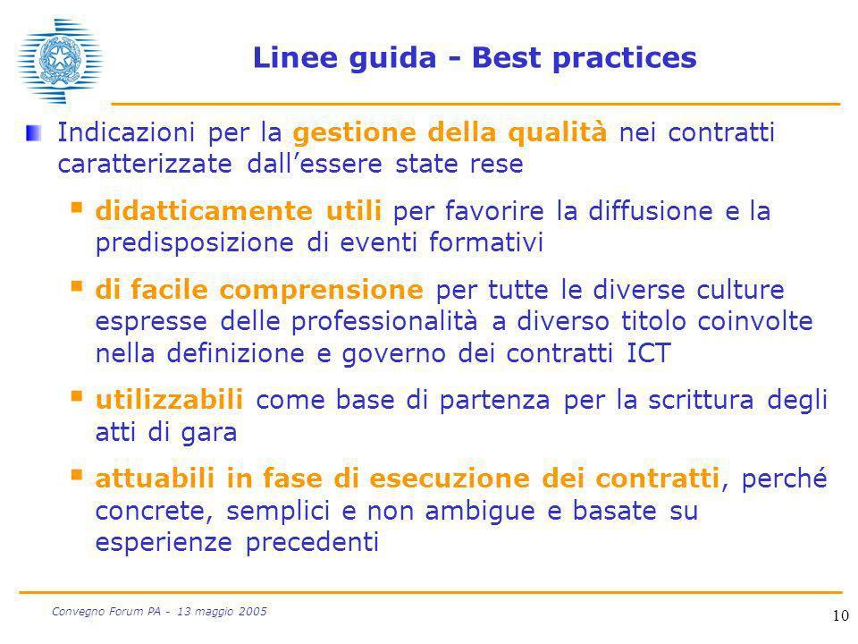 10 Convegno Forum PA - 13 maggio 2005 Linee guida - Best practices Indicazioni per la gestione della qualità nei contratti caratterizzate dallessere s