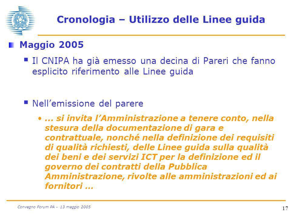 17 Convegno Forum PA - 13 maggio 2005 Cronologia – Utilizzo delle Linee guida Maggio 2005 Il CNIPA ha già emesso una decina di Pareri che fanno esplic