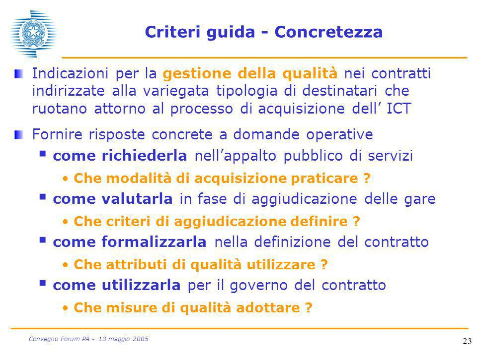 23 Convegno Forum PA - 13 maggio 2005 Criteri guida - Concretezza Indicazioni per la gestione della qualità nei contratti indirizzate alla variegata t