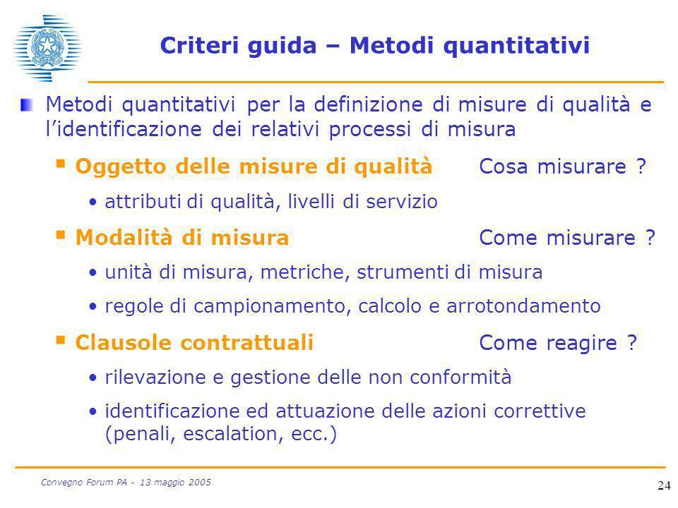 24 Convegno Forum PA - 13 maggio 2005 Criteri guida – Metodi quantitativi Metodi quantitativi per la definizione di misure di qualità e lidentificazio