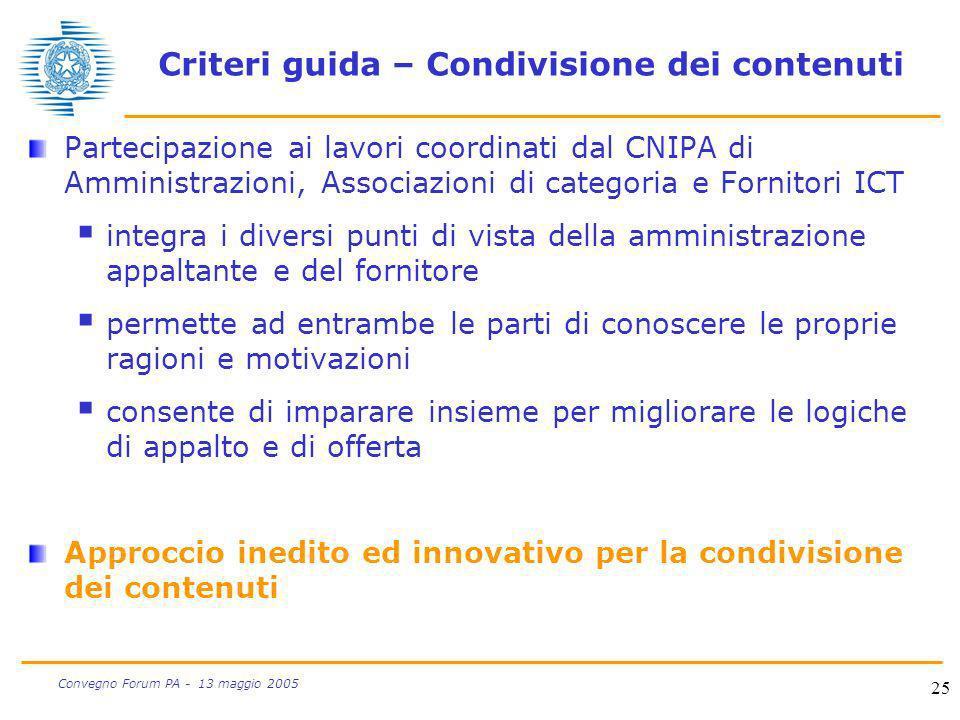 25 Convegno Forum PA - 13 maggio 2005 Criteri guida – Condivisione dei contenuti Partecipazione ai lavori coordinati dal CNIPA di Amministrazioni, Ass