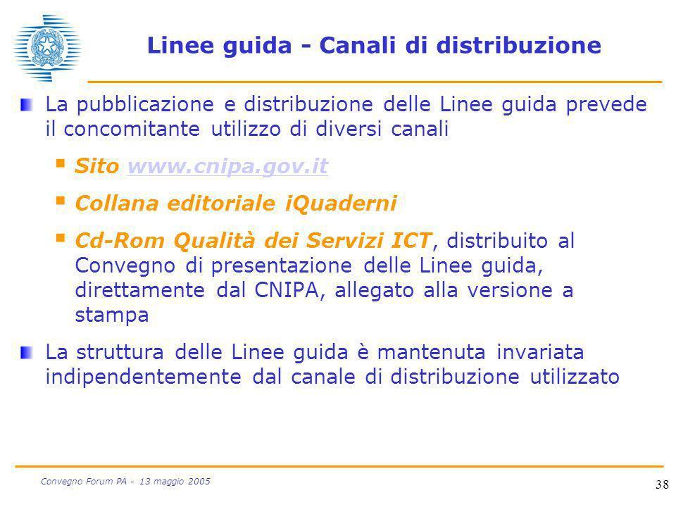 38 Convegno Forum PA - 13 maggio 2005 Linee guida - Canali di distribuzione La pubblicazione e distribuzione delle Linee guida prevede il concomitante