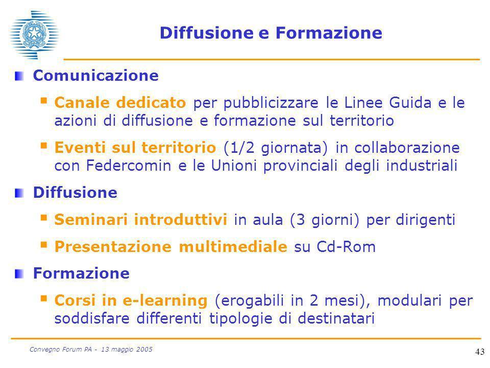 43 Convegno Forum PA - 13 maggio 2005 Diffusione e Formazione Comunicazione Canale dedicato per pubblicizzare le Linee Guida e le azioni di diffusione