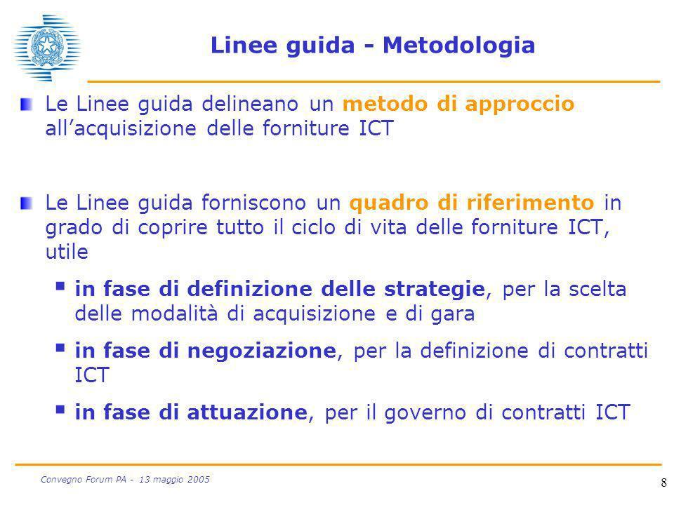 8 Convegno Forum PA - 13 maggio 2005 Linee guida - Metodologia Le Linee guida delineano un metodo di approccio allacquisizione delle forniture ICT Le
