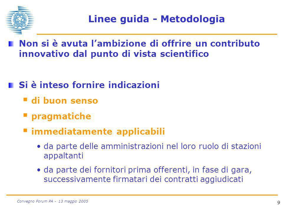 9 Convegno Forum PA - 13 maggio 2005 Linee guida - Metodologia Non si è avuta lambizione di offrire un contributo innovativo dal punto di vista scient
