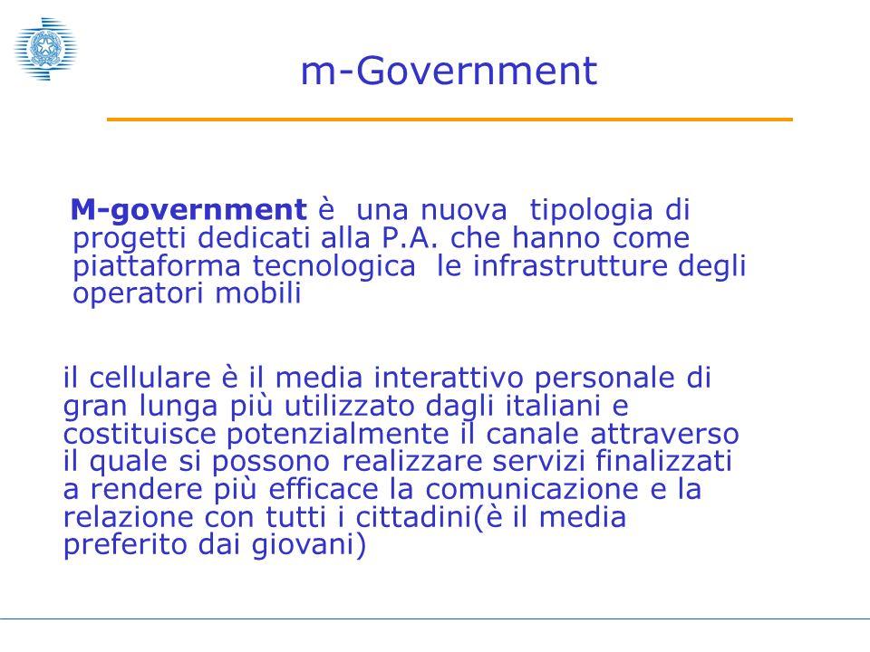 m-Government M-government è una nuova tipologia di progetti dedicati alla P.A.
