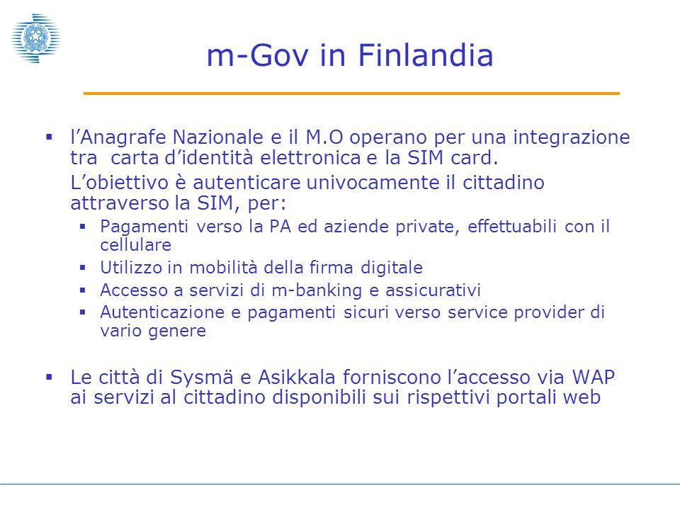 m-Gov in Finlandia lAnagrafe Nazionale e il M.O operano per una integrazione tra carta didentità elettronica e la SIM card.