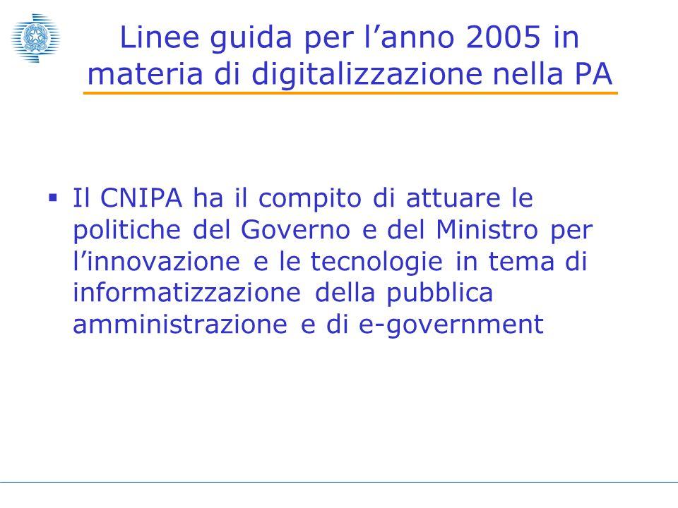 Linee guida per lanno 2005 in materia di digitalizzazione nella PA Il CNIPA ha il compito di attuare le politiche del Governo e del Ministro per linnovazione e le tecnologie in tema di informatizzazione della pubblica amministrazione e di e-government