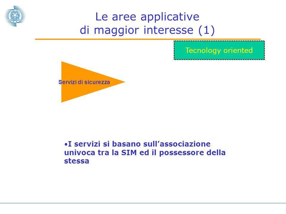 Le aree applicative di maggior interesse (1) Servizi di sicurezza Tecnology oriented I servizi si basano sullassociazione univoca tra la SIM ed il possessore della stessa