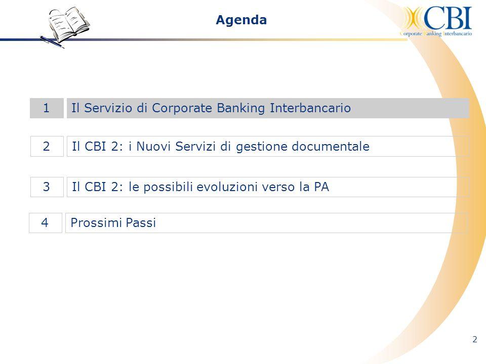 2 Il CBI 2: i Nuovi Servizi di gestione documentale2 Il Servizio di Corporate Banking Interbancario1 Il CBI 2: le possibili evoluzioni verso la PA3 Ag