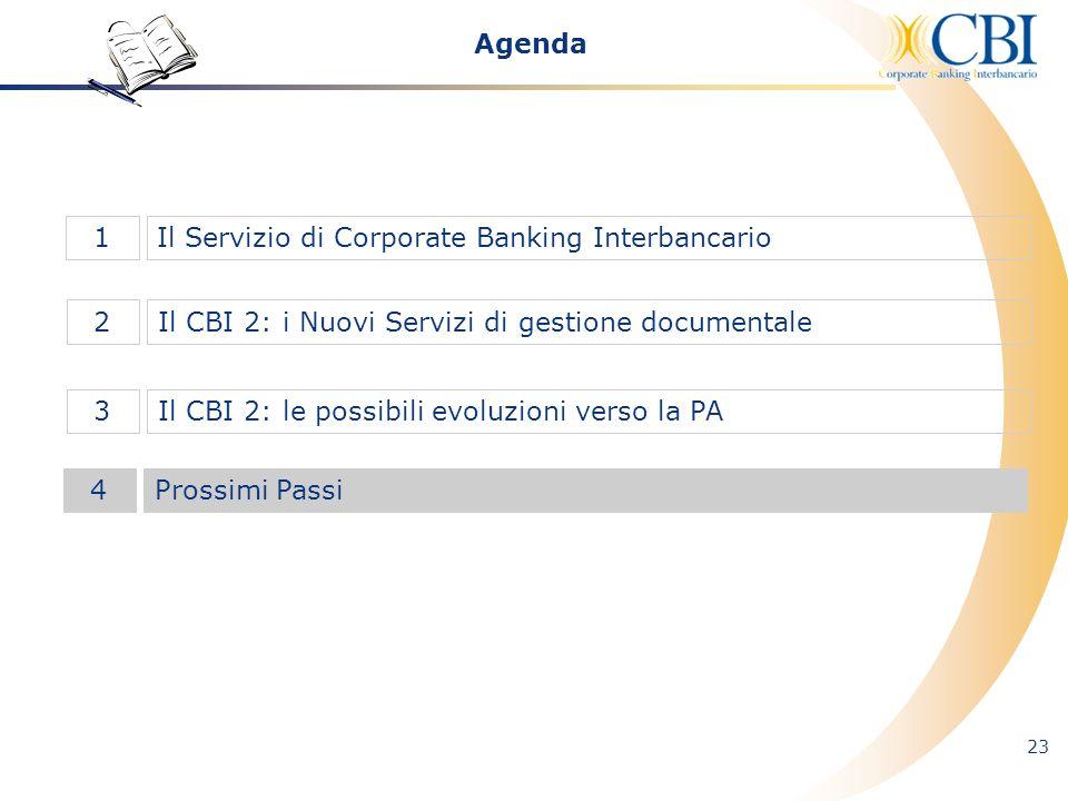 23 Il CBI 2: i Nuovi Servizi di gestione documentale2 Il Servizio di Corporate Banking Interbancario1 Il CBI 2: le possibili evoluzioni verso la PA3 A