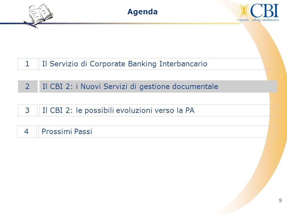 9 Il CBI 2: i Nuovi Servizi di gestione documentale2 Il Servizio di Corporate Banking Interbancario1 Il CBI 2: le possibili evoluzioni verso la PA3 Ag