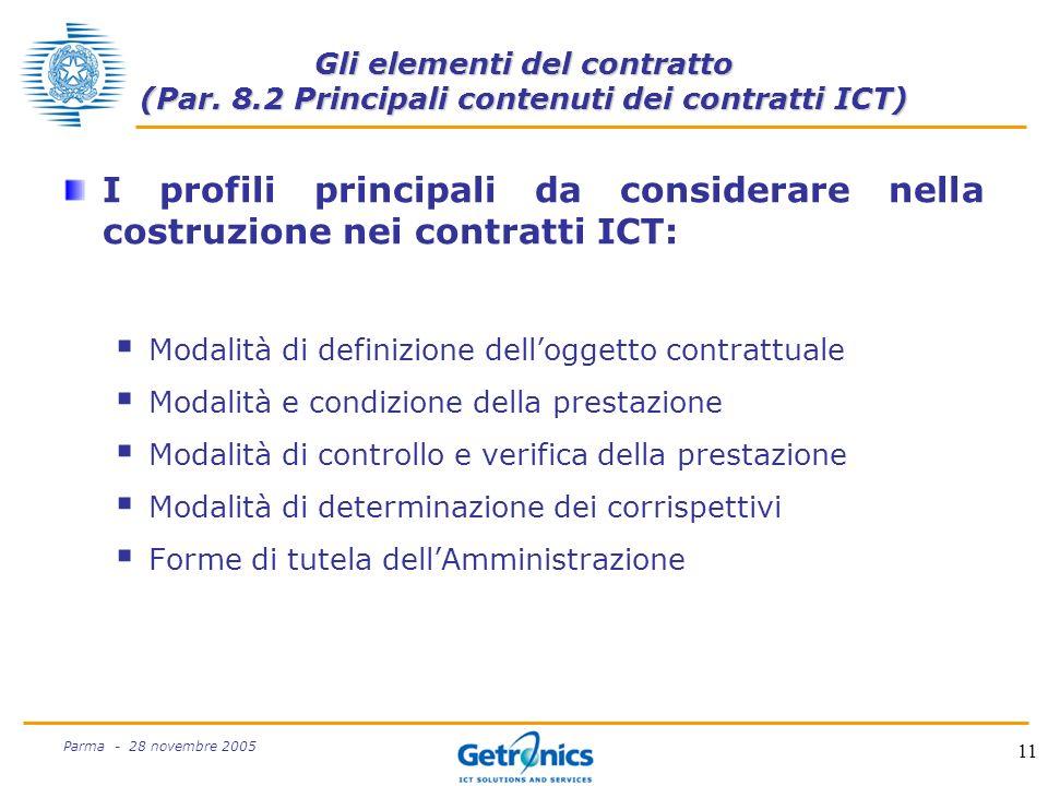 11 Parma - 28 novembre 2005 Gli elementi del contratto (Par.