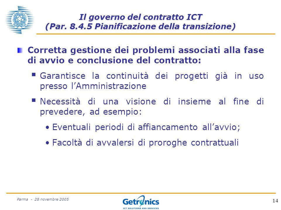 14 Parma - 28 novembre 2005 Il governo del contratto ICT (Par.