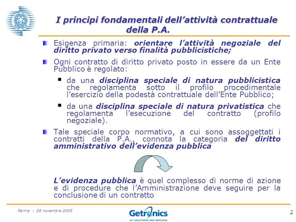 2 Parma - 28 novembre 2005 I principi fondamentali dellattività contrattuale della P.A.